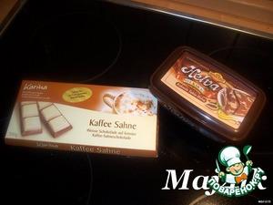 Крем: (Крем я стащила у Надюшки http://www.povarenok .ru/recipes/show/209  15/ и немного поменяла его вкусовые качества)       Крем нужно начать делать с вечера!      Халва и шоколад (для наглядности)