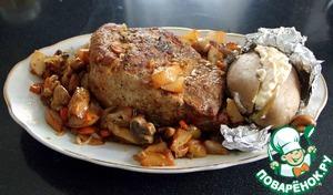 Рецепт Свинина, запеченная с грибами и грушами