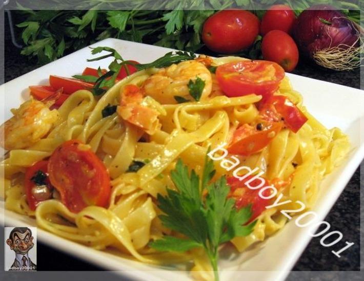 Рецепт: Креветки  в сливочном соусе
