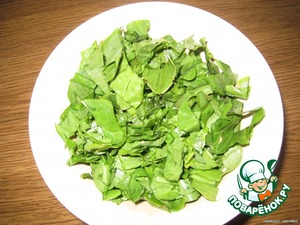 Cut washed and dried sorrel