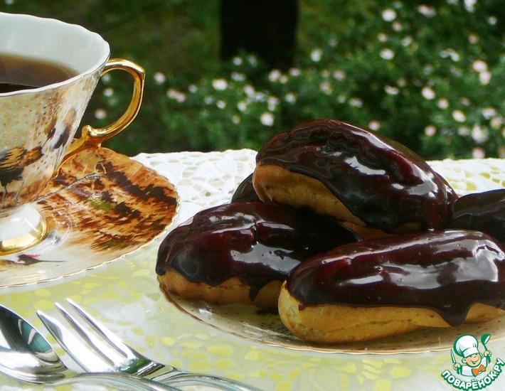 Рецепт: Зеркальная шоколадная глазурь для эклеров и тортов
