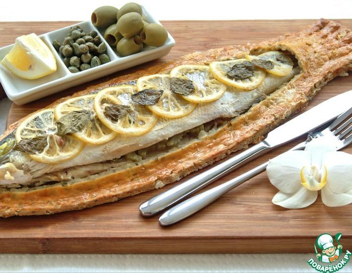 Рецепт: Сибас, запеченный в тесте из морской соли и розмарина