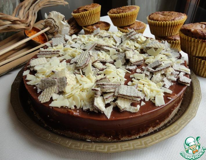 Торт с вафлями и а-ля брауни