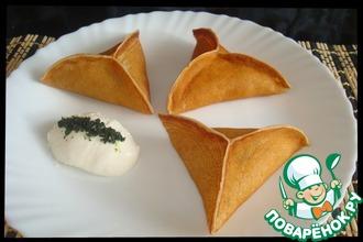 Рецепт: Блины с грибами и сыром