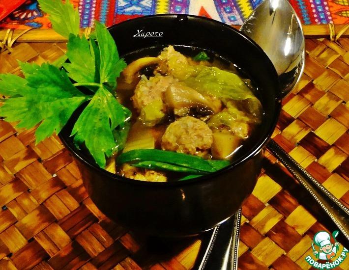 Рецепт: Тайский суп с фрикадельками из свинины