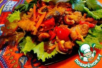 Рецепт: Курица с овощами и кешью по-тайски