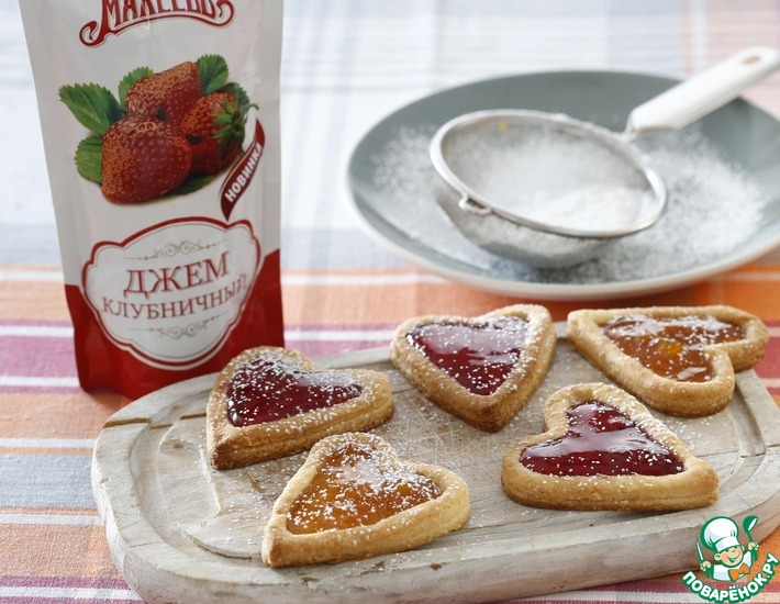Рецепт: Печенье-сердечки с джемом