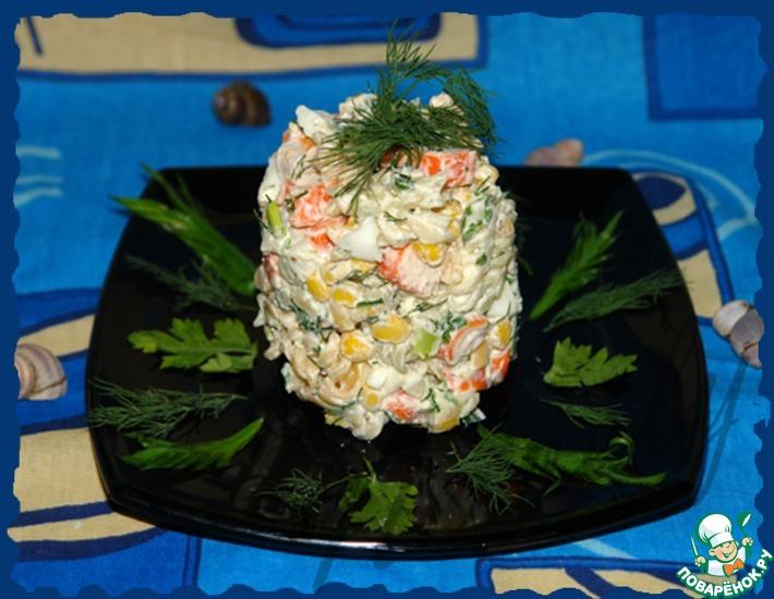 Рецепт: Салат из крабовых палочек с макаронами