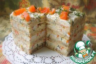 Рецепт: Закусочный торт с крабовыми палочками А`Море