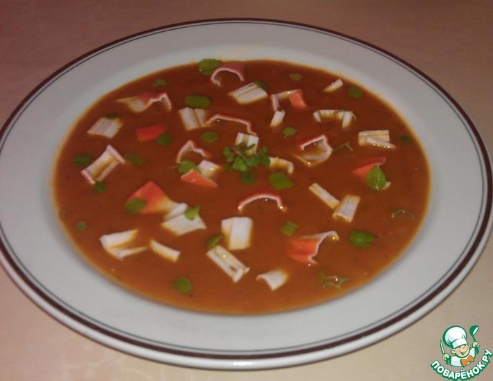 Рецепт: Томатный суп-пюре с крабовой стружкой