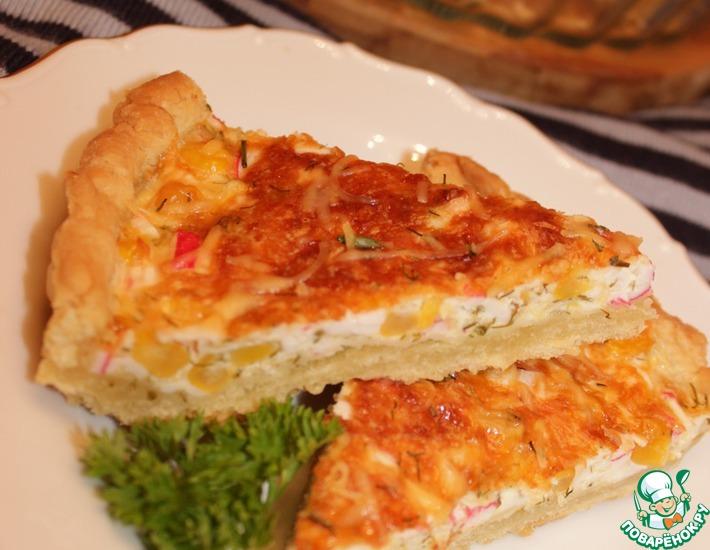 Рецепт: Песочный пирог с крабовыми палочками