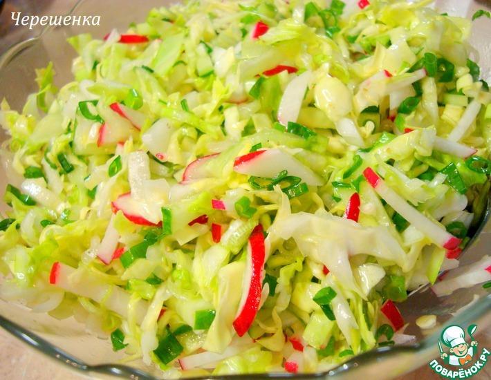 Рецепт: Салат из капусты, редиса и огурцов