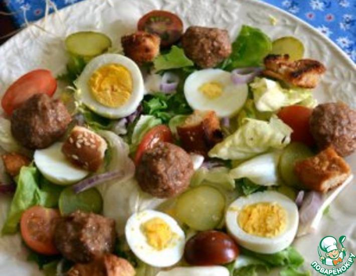 Рецепт: Теплый салат А-ля гамбургер