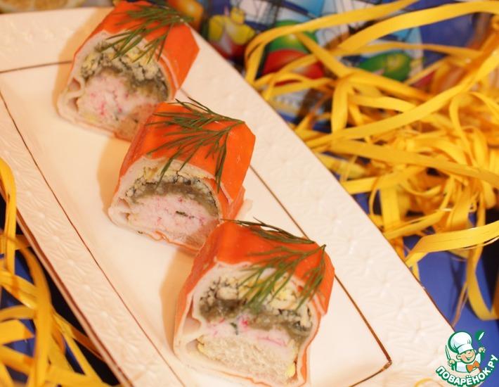 Рецепт: Тосты с крабовыми палочками Мини