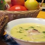 Картофельный суп-пюре с копченой форелью