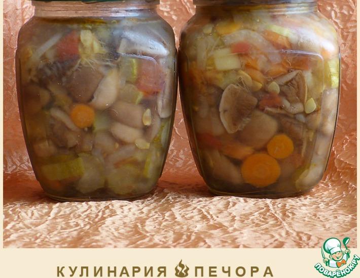 Салат на зиму из маслят и овощей