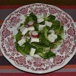 Салат листовой с редисом и фетой