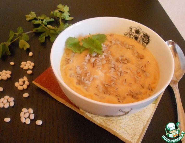 Рецепт: Фасолевый суп-пюре с перловой крупой
