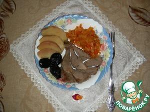 Рецепт Индоутка, фаршированная черносливом и айвой, в соусе из грейпфрута