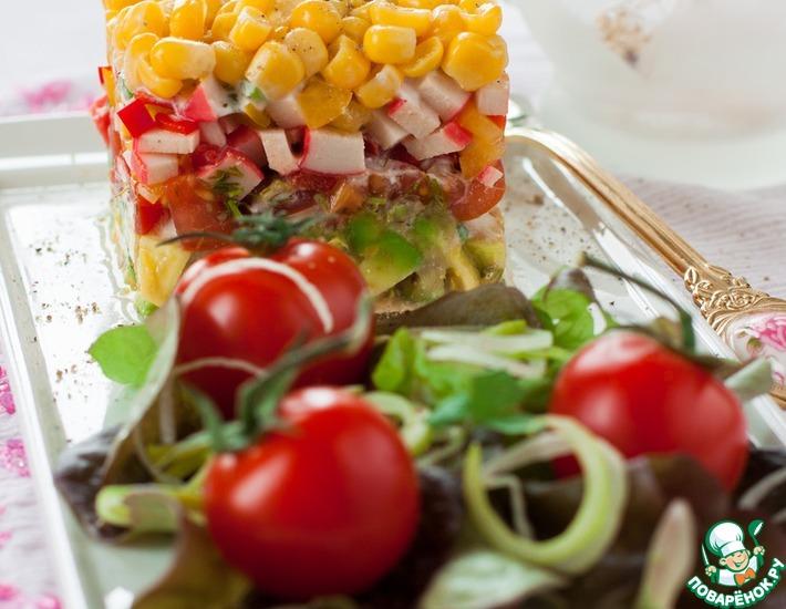 Рецепт: Салат из овощей и крабовых палочек