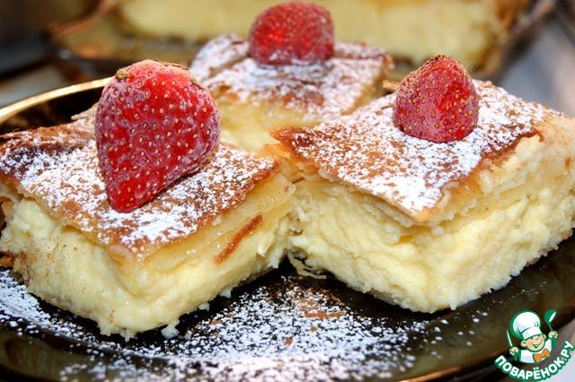 Слоеный греческий пирог с кремом