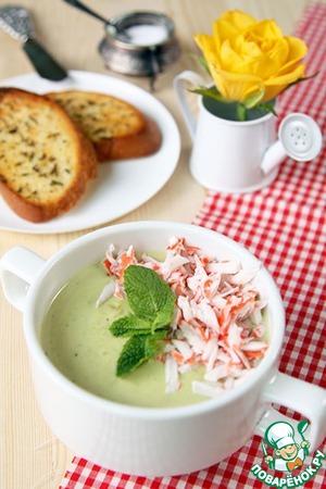 Рецепт Суп из авокадо с крабовыми палочками и мятными гренками