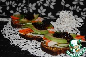 Рецепт Сэндвичи с авокадо и крабовыми палочками
