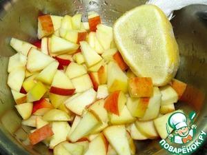У яблока удалить семенную камеру, нарезать на кусочки (размер - по желанию). Полить лимонным соком.