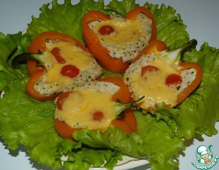 Рецепт: Запеченный перец, фаршированный моцареллой и крабовыми палочками