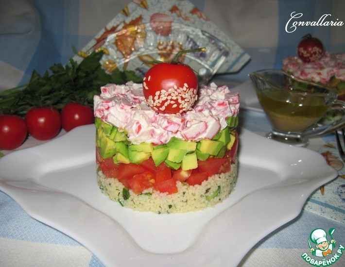 Рецепт: Салат с крабовыми палочками и кус-кусом