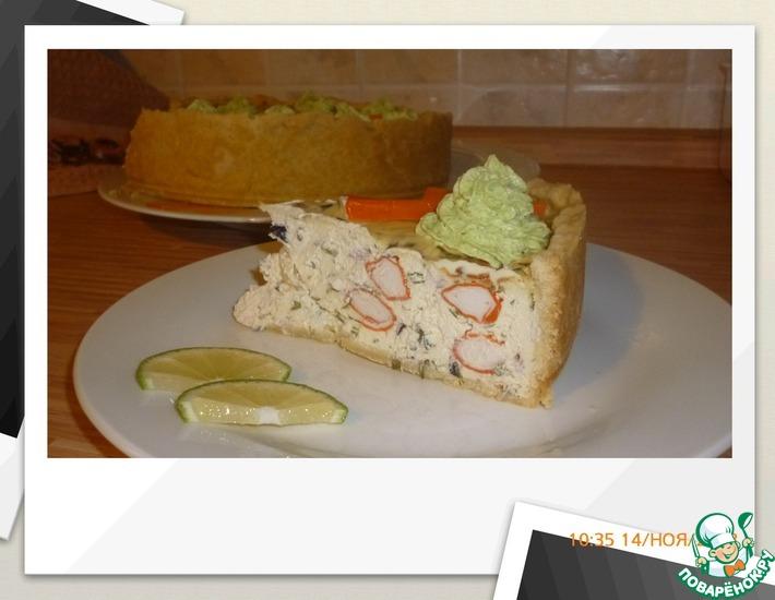 Рецепт: Закусочный чизкейк с крабовыми палочками