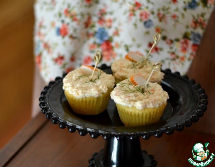 Рецепт: Капкейки с муссом из крабовых палочек