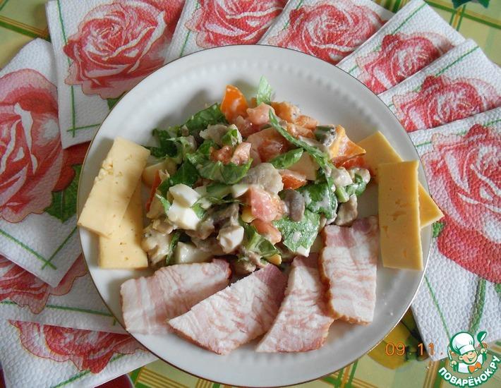 Рецепт: Салат с вешенками Сочный вкус