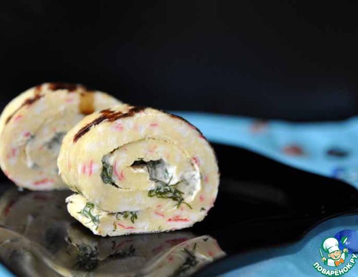 Рецепт: Крабовый рулет с сырно-горчичным соусом