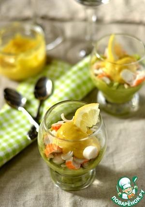 Рецепт Веррины с кремом из авокадо, крабовыми палочками с майонезом-карри
