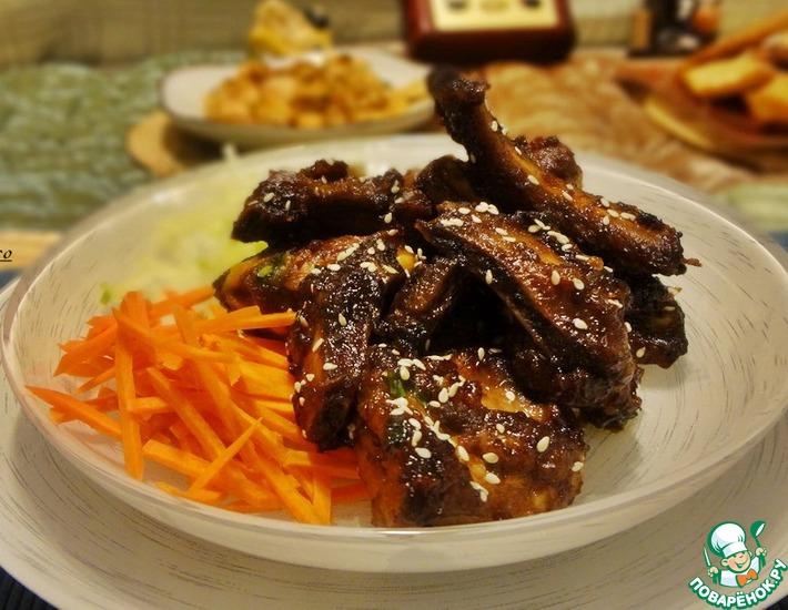 Рецепт: Свиные рёбра в соевом соусе по-корейски