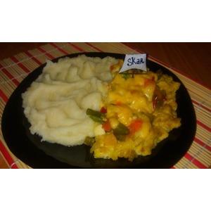 Мясная запеканка с овощами и сыром