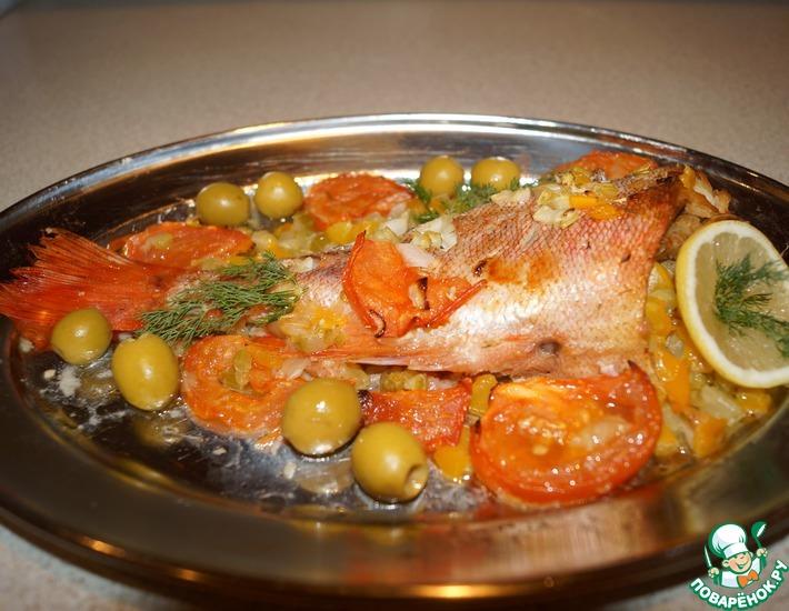 Рецепт: Морской окунь, запеченный с сельдереем