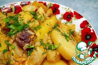 Рецепт: Картофель тушеный в сливках