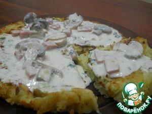 Рецепт Картофельная лепешка со сметанно-грибным соусом