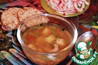 Рецепт: Овощной суп с крабовыми клецками