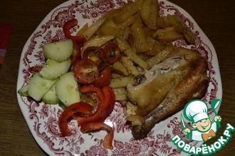 Рецепт: Картофель жареный с луком, чесноком, специями