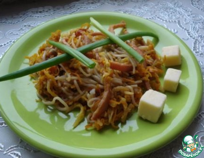 Рецепт: Тёплый овощной салат с фунчозой