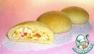 Рецепт Кукурузные булочки с крабовыми палочками, болгарским перцем и брынзой
