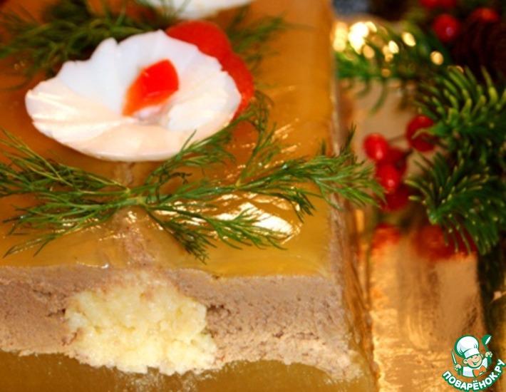 Рецепт: Паштет с сырно-миндальной прослойкой, покрытый желе