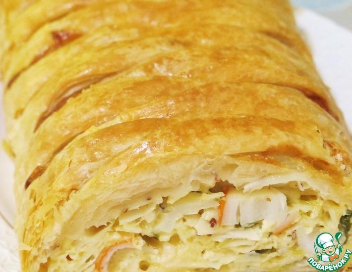 Рецепт: Сырный пирог с крабовыми палочками