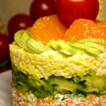 Крабовый тертый мини-торт