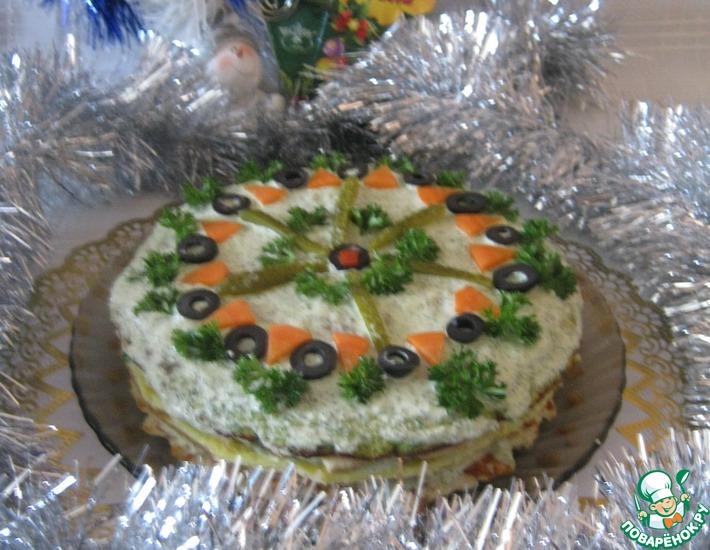 Рецепт: Закусочный торт Новогодний калейдоскоп