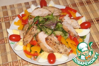 Рецепт: Теплый салат с запеченной курицей