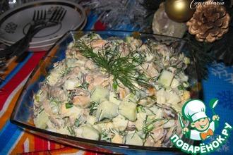 Рецепт: Салат с мидиями Свежесть